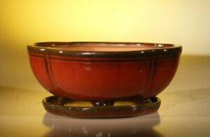 "Ceramic Bonsai Pot Lotus Shaped Parisian Red Glazed 10.75"" x 8.5"" x 4.125"""