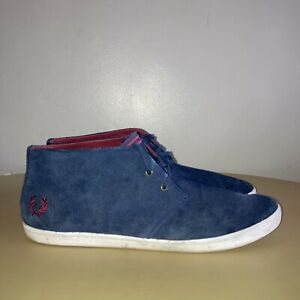 Fred Perry Size 10 Ankle Boots Blue Suede