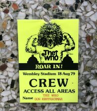 Vintage 1979 The Who Concert Tour Crew Backstage Pass Laminate