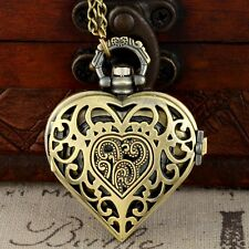 Vintage Design Skeleton Heart Shaped Pocket Watch Quartz Pendant Necklace Chain