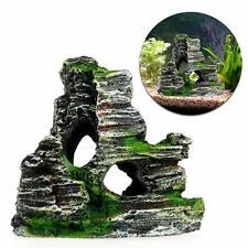 Aquarium Ornament Mountain Rock Landscape Decoration Fish Resin House Green Moss