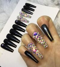 Black Gloss Diamante False Fake Extra Long Ballerina Nails Set