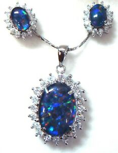 Lady Xmas Jewelry Natural Triplet Opal Pendant With Earring 925 Sterling Silver