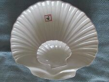 Olfaire White Scallop Design Fixed Bowl Server For Chip & Dip