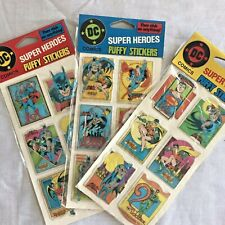 3 DC Super Heroes Puffy Stickers 1988 Vintage Batman Superman Robin