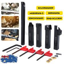 AU 5Pcs 16MM Shank Turning Holder Bar Tool w/ Insert & Wrench for Bench Lathe