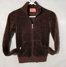 W5216 Juicy Couture Child/Kids Girl Small Brown Zip Up Hoodie With Pockets