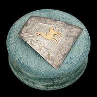 Antique Vintage Mid Century Sterling Silver Inca Pin Brooch Necklace Pendant