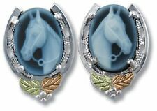 Black Hills Gold horse cameo earrings womens blue agate & .925 sterling silver