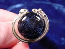 (#DR7.5-15) Size 7.5 DICHROIC GLASS Sterl SILVER RING PURPLE BLACK