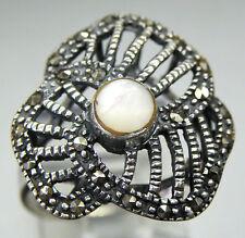 Vintage Antique Estate~925 Sterling Silver, Moonstone & Marcasite Ring Size 8