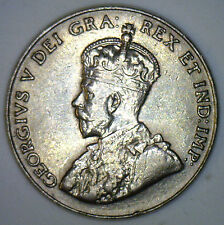 1929 Canadian Imperial Crowned Two Leaf Nickel 5 cent Piece AU2
