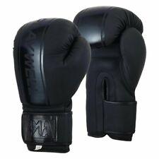 Playwell Pro Elite Boxing Gloves Matte Black Sparring Kick Muay Thai MMA Bag