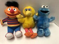 Sesame Street Lot Of 3 Plush Toys Ernie Big Bird Cookie Monster