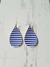 4th of July Earrings Usa patriotic Blue & White Stripes teardrop Earrings