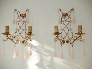 ~c 1920 Set French Pink Opaline Drops with Beads and Stars Crystal Sconces~