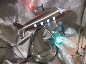 POTTERY BARN for KIDS STAINLESS STEEL AIRPLANE NIGHT LIGHT- ART DECO STYLE