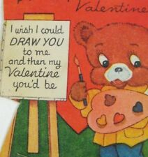 Valentine Card 1949 Used Artist Easel Picture Painting Anthropomorphic Bear