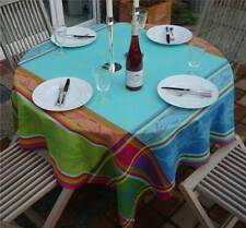 Tablecloth Jacquard Cotton 160x160 CM Turquoise Green France With Teflonschutz