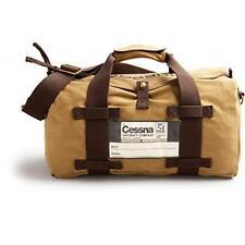 Vintage Cessna Duffel Bag, Tan Cotton Twill & Brass Hardware, w/ Cessna Logo