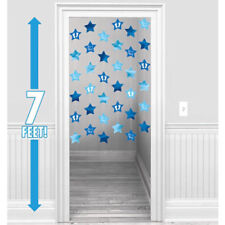 BABY BOY HANGING STRING DECORATIONS ~ Shower Party Supplies Blue Doorway Ceiling