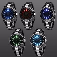 OHSEN Mens Stainless Steel Multi Colorful LED Black Analog Quartz Wrist Watch US
