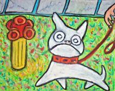 5x7 French Bulldog Bathroom Dog Art Print of Painting Artwork by Ksams