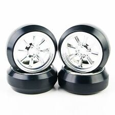 4 X Durable 8 Spoke Silver Wheel Rim & Tyre Tires 10811 for RC 1/10 Drift Car