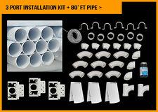 Central Vacuum 3 Port White Installation Kit Deluxe Full Door 80 foot PVC Pipe