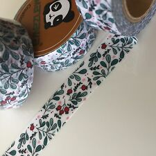 WASHI TAPE RED HOLLY FLORAL 15MM X 10MTR ROLL PLAN CRAFT SCRAP WRAP
