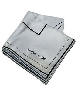 "Vintage Yves Saint Laurent YSL Light Blue 100% Silk Handkerchief Scarf 18"" X 18"""