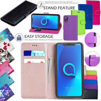 For Alcatel 1 Shockproof Protective Leather Wallet Phone Flip Stand Case Cover
