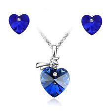 Women's Crystal Stone Love Heart Pendant Necklace & Earrings Dark Blue Set UK
