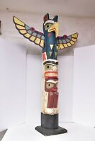 """LARGE NW coast Tribal totem pole colorful Hand Carved Painted Thunderbird 40"""""""