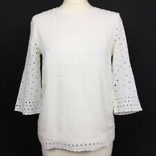 WHISTLES Pure Cotton Ivory White Embroidered Cut Out Circles 3/4 Sleeve Top 8