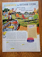 1956 Reynolds Aluminum Ad Outdoor Living Fishing Boat Won't Warp Rot Rust Ever