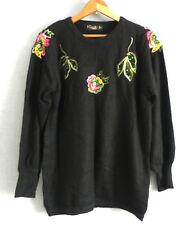 Vtg Again NonNo Italy Sweater Tunic Black Angora Blend Embroidery/Sequin Trim M
