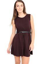 Womens Ladies Girls Sleeveless Dresses Flared Belted Skater Dress Party Top Vest