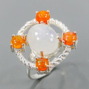 Handmade SET Moonstone Ring Silver 925 Sterling  Size 8 /R164125