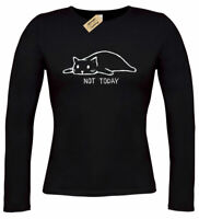 Womens Not Today T-Shirt Cat funny lazy sleepy kitty ladies top gift long sleeve