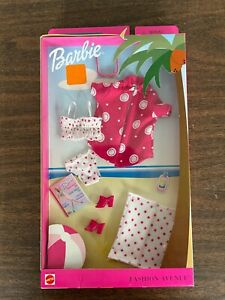 2002 Barbie Fashion Avenue Splash Swimwear Red White Suit Heels NIB Mattel 53986
