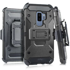 SAMSUNG GALAXY S9+ PLUS - Black Hybrid Holster Combo Phone Case Cover +Belt Clip