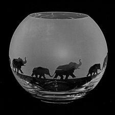 *ELEPHANT GIFT*  15cm Boxed CRYSTAL GLASS GLOBE VASE with ELEPHANT  FRIEZE