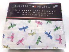 New Retro Tommy Hilfiger Soft 100% Cotton extra long twin Sheet Set Butterflies