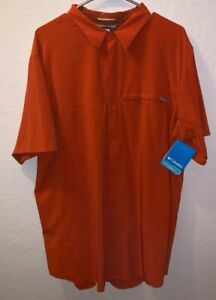 NWT* Columbia Omni-Freeze/ Omni-Wick Evap Button Down SS Shirt Orange Size XL