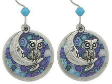 EMMA & IVY ARTWORK EARRINGS - MOON & OWLS ON STAINED GLASS LOOK- K402