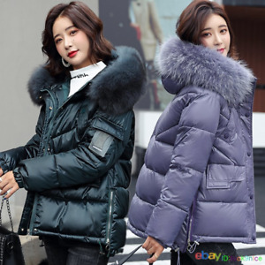 Winter Women's Down Cotton Jackets Big Faux Fur Hooded Short Warm Coats Parka
