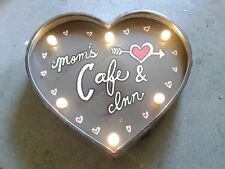 Lighted Moms Cafe & Inn Metal Sign Vintage Look Kitchen Decor LED Heart Home