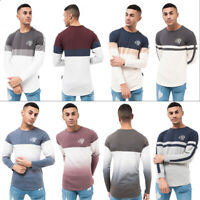 Mens Crosshatch Long Sleeve Tops Printed Bold Striped Crew Neck Fashion Tees