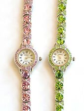 GENEVA SMALL DIAL,GLITZ,CRYSTALS BLINQ LIME GREEN,PINK CRYSTALS,MOP DIAL WATCH